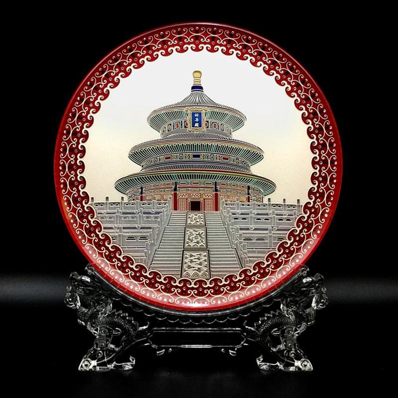 北京天坛水晶玻璃雕刻摆盘_水晶工艺品定制厂家-国韵