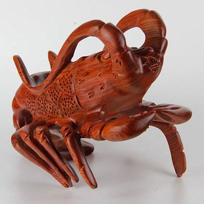 红木雕刻龙虾红酒实木创意动物手工艺