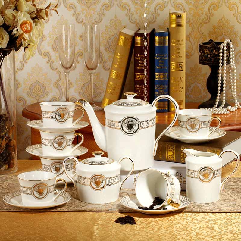 描金欧式金边咖啡茶具套装