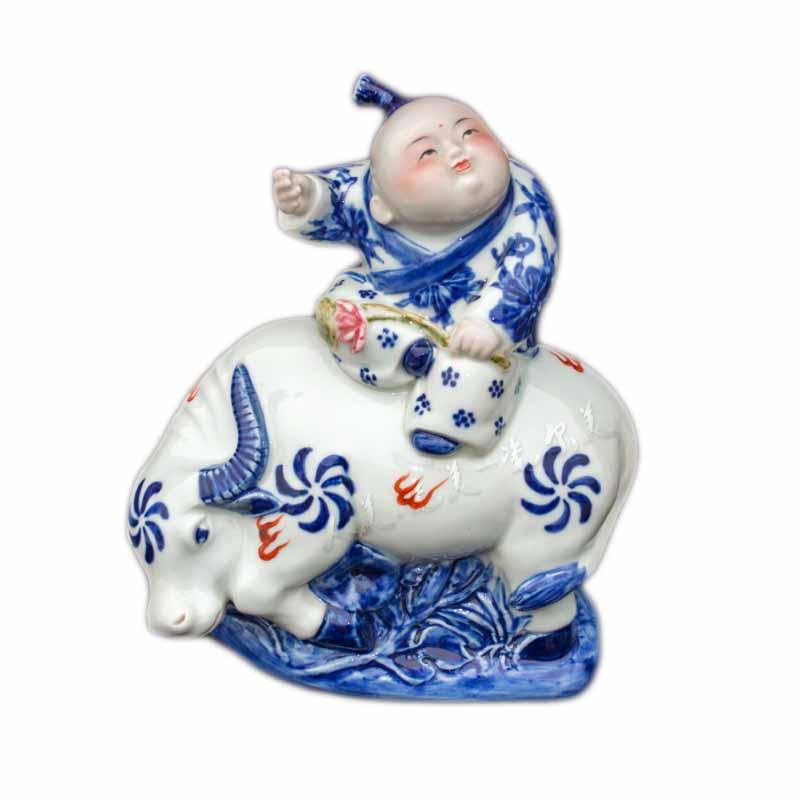 瓷器雕塑手绘青花田园牧歌_陶瓷摆件工艺品定制-国韵