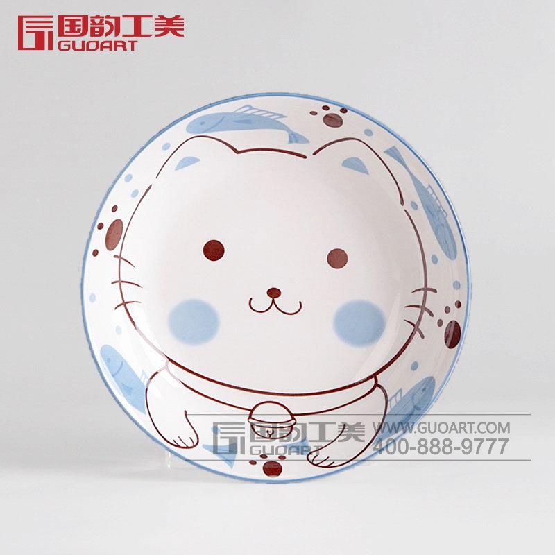 可爱小猫陶瓷碗白瓷礼品套装定制