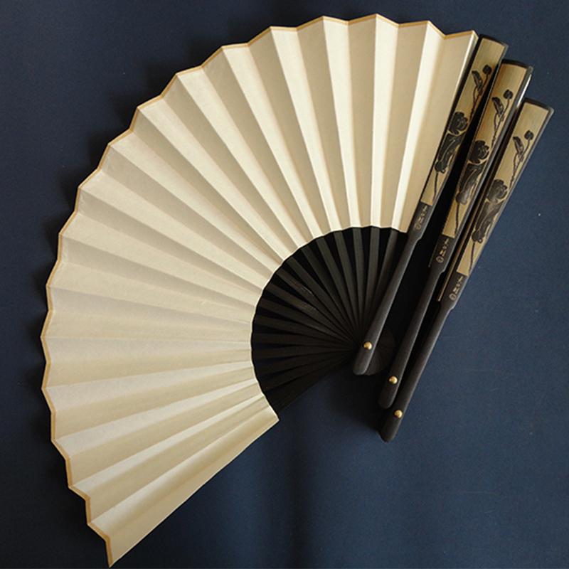 手绘宣纸折扇子中国风古典男士折叠扇白纸扇工