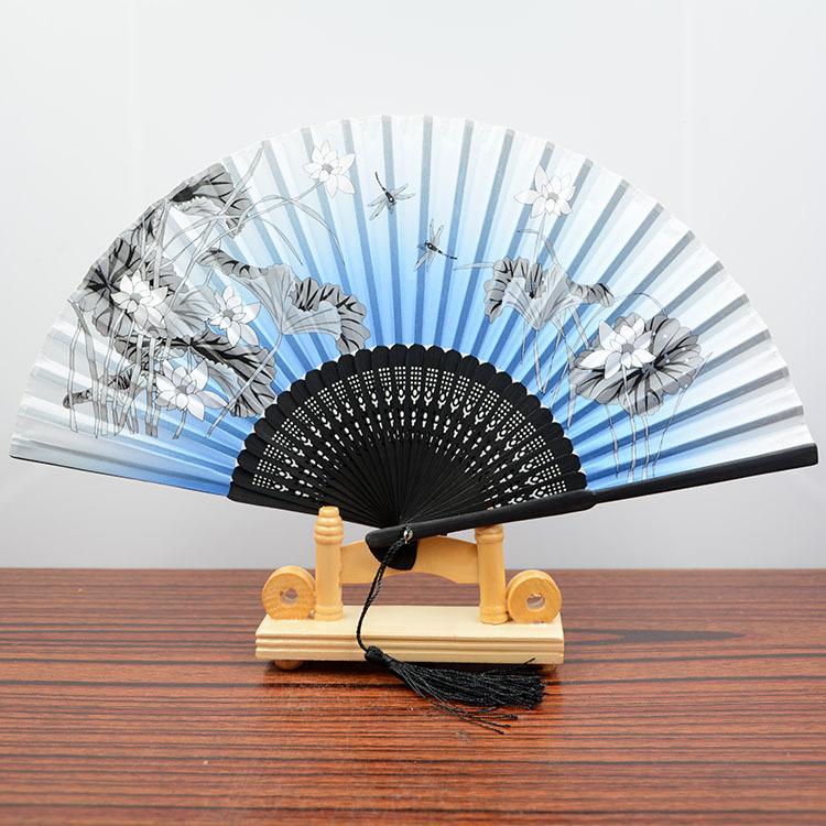 中国风正品竹扇子折叠香木女士丝绸女扇真丝绫
