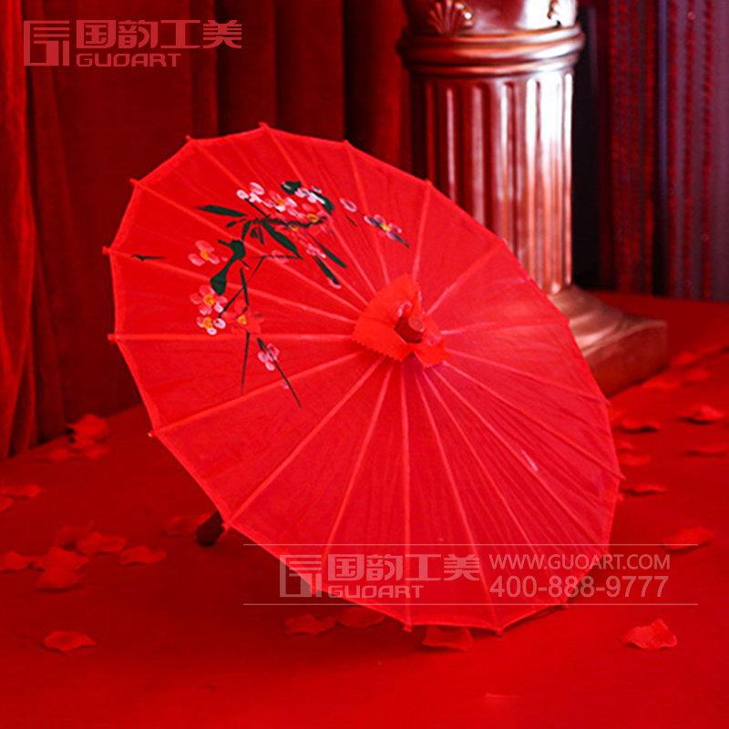 时尚复古红色油纸伞彩色雨伞定制
